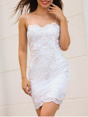 Cheap Scalloped Spaghetti Strap Embroidery Dress WHITE M