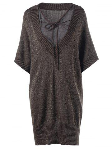 Hot Plus Size See Thru Batwing Sleeve Longline Sweater BROWN 5XL