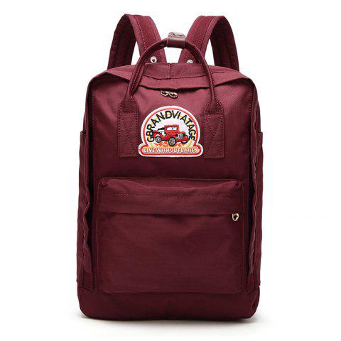 Trendy Car Letter Embroidery School Backpack RED VERTICAL