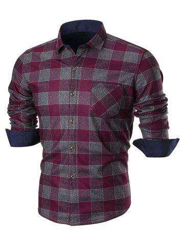 Latest Chest Pocket Long Sleeve Checkered Shirt WINE RED 4XL