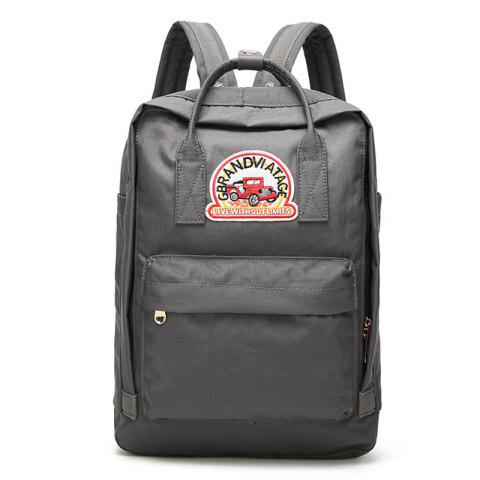 New Car Letter Embroidery School Backpack - VERTICAL GRAY Mobile