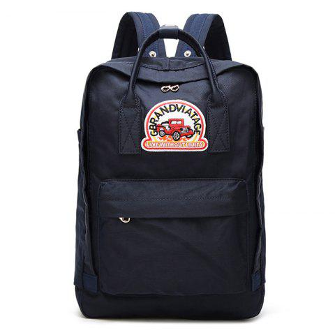 Affordable Car Letter Embroidery School Backpack BLUE VERTICAL