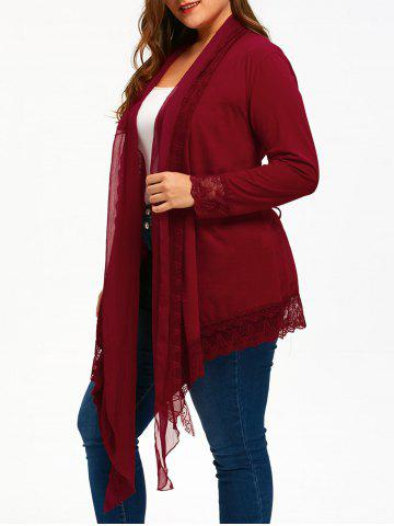 Sale Lace Trim Criss Cross Plus Size Cardigan WINE RED 5XL