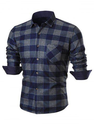 Fancy Chest Pocket Long Sleeve Checkered Shirt - 4XL BLUE Mobile