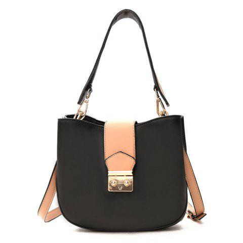 Fashion Contrasting Color PU Leather Tote Bag