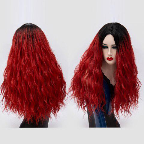 Fashion Long Center Parting Water Wave Ombre Synthetic Party Wig - BLACK AND RED  Mobile