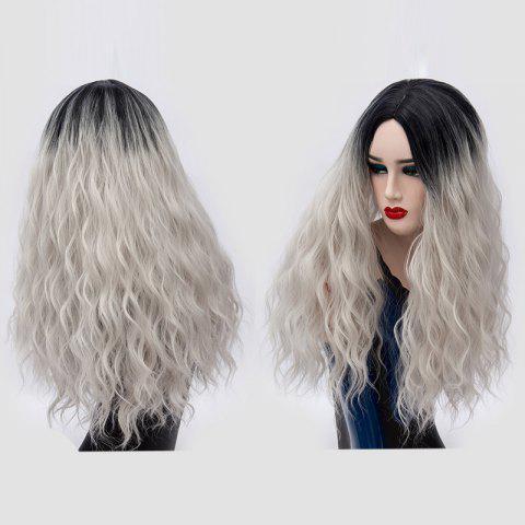 Hot Long Center Parting Water Wave Ombre Synthetic Party Wig SILVER GRAY