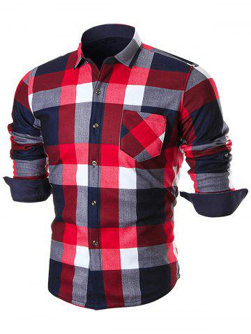 Buy Chest Pocket Long Sleeve Checkered Shirt - 4XL RED Mobile
