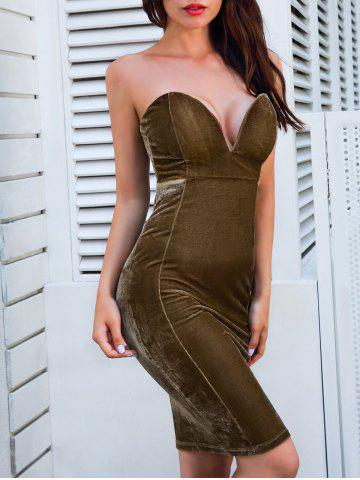 Outfits Velvet Strapless Bodycon Dress - XL BROWN Mobile