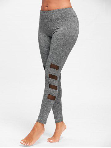 Discount Mesh Insert High Waist Workout Tights - S GRAY Mobile