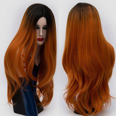 Chic Long Center Parting Ombre Slightly Curly Synthetic Party Wig JACINTH