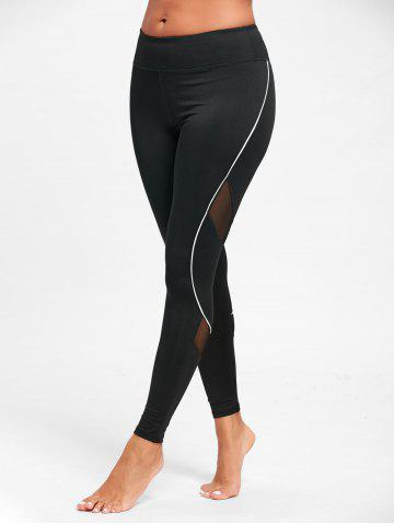 Discount Midi Waist Contrast Tall Leggings for Yoga - S BLACK Mobile