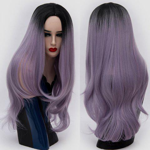 Online Long Center Parting Ombre Slightly Curly Synthetic Party Wig - LAVENDER FROST  Mobile