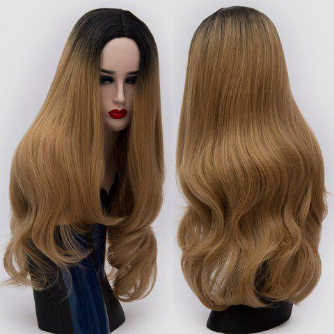 Online Long Center Parting Ombre Slightly Curly Synthetic Party Wig