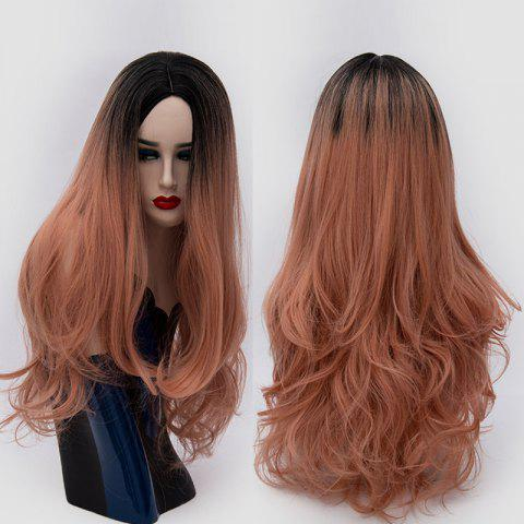 New Long Center Parting Ombre Slightly Curly Synthetic Party Wig