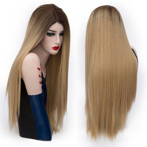 Latest Center Parting Long Straight Colormix Party Synthetic Wig