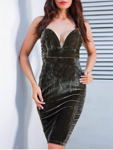 Outfits Plunging Neckline Velvet Strapless Tight Dress
