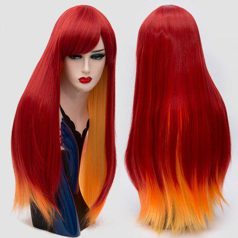 Trendy Long Side Bang Straight Synthetic Two Tone Party Wig - RED  Mobile