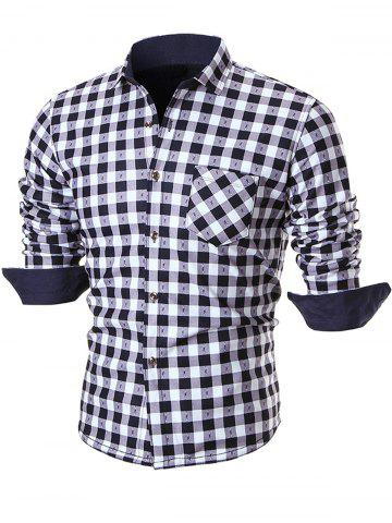 Outfits Warm Thicken Button Up Plaid Shirt - 2XL WHITE Mobile