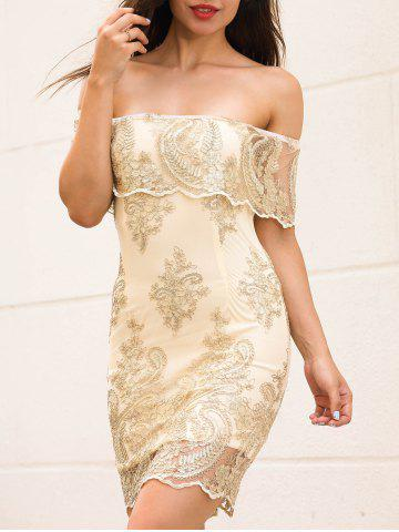 Fancy Off The Shoulder Embroidered Bodycon Dress GOLDEN S