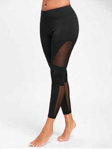 Sale Midi Waist See Through  Mesh Insert Yoga Leggings BLACK S