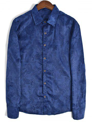 Best Long Sleeve Paisley Jacquard Shirt - 2XL BLUE Mobile