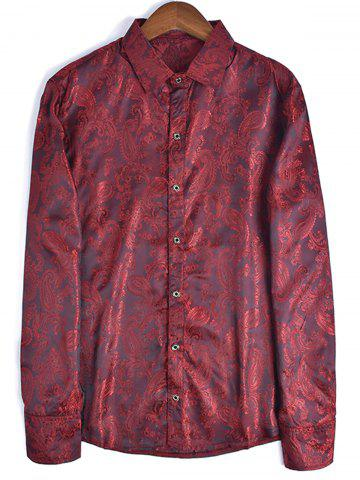 Fashion Long Sleeve Paisley Jacquard Shirt RED 2XL