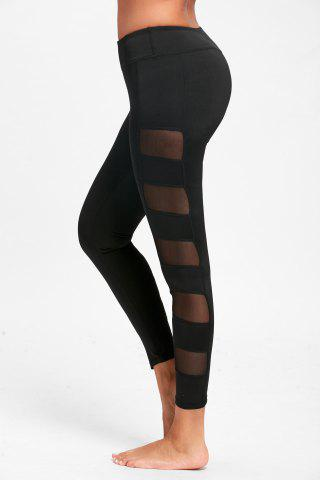 Shop See Through Mesh Panel Yoga Leggings - L BLACK Mobile