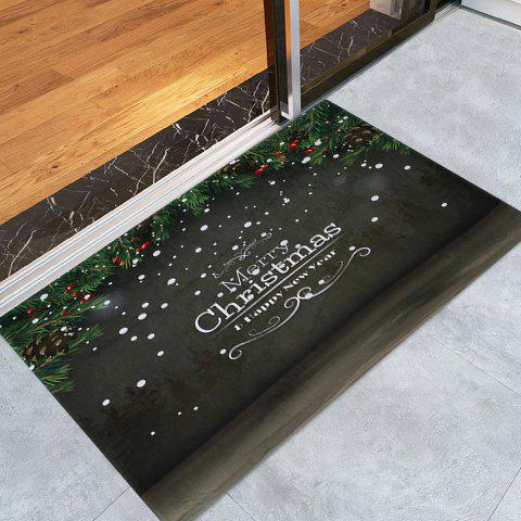 Latest Merry Christmas Printed Coral Fleece Nonslip Bath Mat - W16 INCH * L24 INCH DARK GREY Mobile