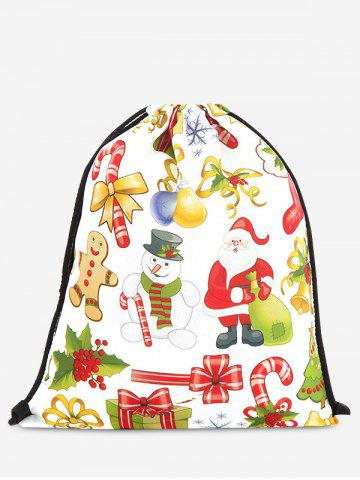 Chic Drawstring Print Christmas Backpack YELLOW