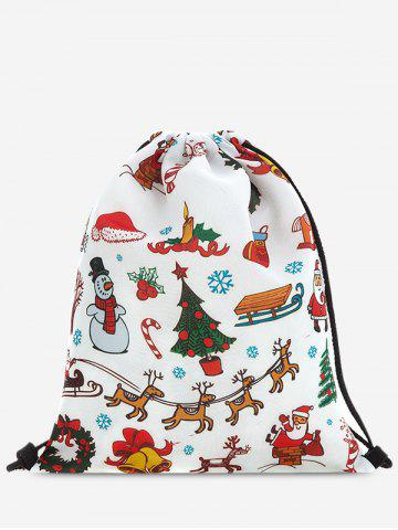 Cheap Drawstring Print Christmas Backpack - RED  Mobile