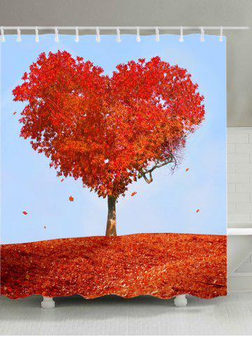 Online Heart Maple Tree Print Waterproof Bathroom Shower Curtain - W71 INCH * L71 INCH RED Mobile