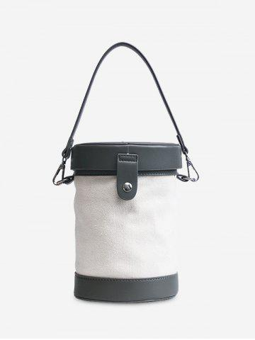 Sale Color Block Cylinder Shaped Crossbody Bag - GRAY  Mobile