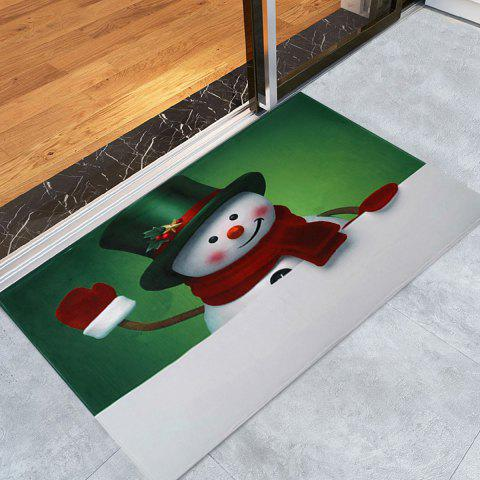 Trendy Christmas Hatted Snowman Pattern Anti-skid Water Absorption Area Rug COLORMIX W16 INCH * L24 INCH