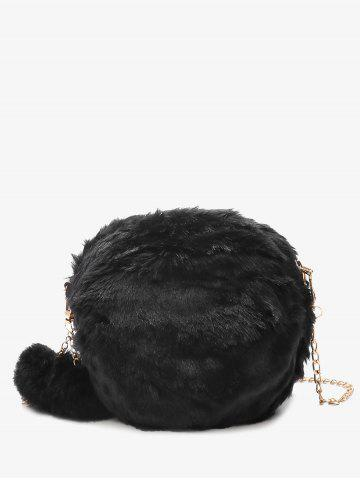 Fashion Pompom Chain Faux Fur Crossbody Bag BLACK