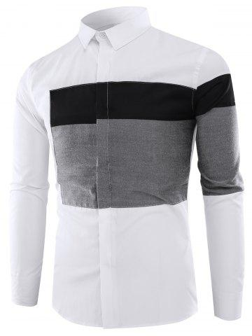 Trendy Color Block Panel Long Sleeve Shirt
