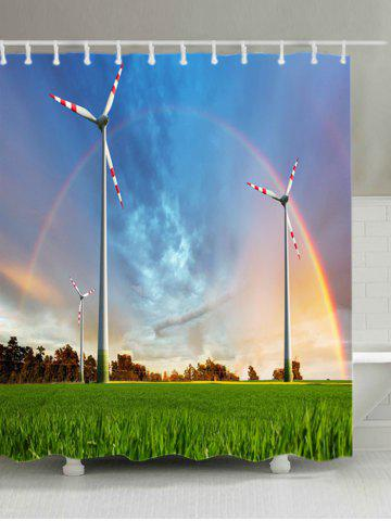 Online Grasslands Windmill Rainbow Print Waterproof Bathroom Shower Curtain