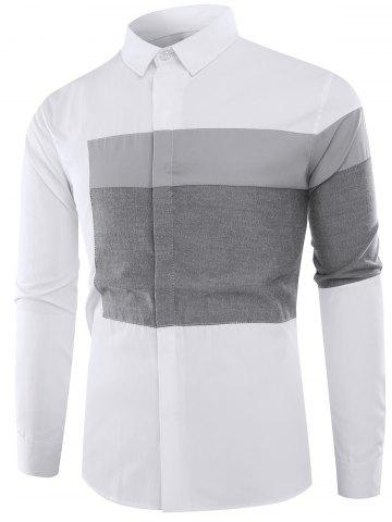 New Color Block Panel Long Sleeve Shirt GRAY 2XL