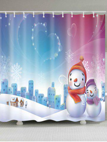 Latest Christmas Snowman Snowscape Waterproof Bath Curtain - W59 INCH * L71 INCH COLORMIX Mobile