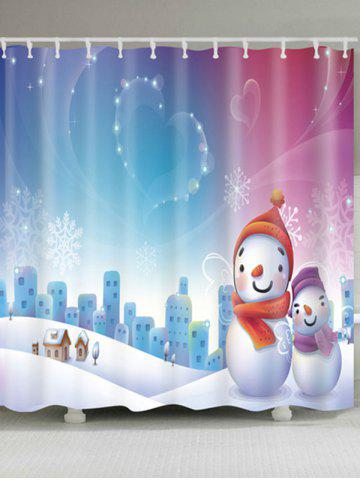 Outfits Christmas Snowman Snowscape Waterproof Bath Curtain - W71 INCH * L79 INCH COLORMIX Mobile