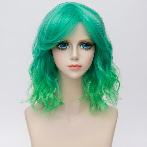 Unique Medium Side Bang Ombre Water Wave Synthetic Party Cosplay Wig