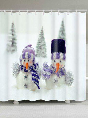 Shop Snowman Couples Print Christmas Waterproof Shower Curtain WHITE W59 INCH * L71 INCH