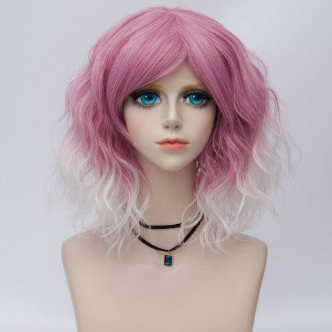 New Medium Side Bang Ombre Water Wave Synthetic Party Cosplay Wig - PEACH RED  Mobile