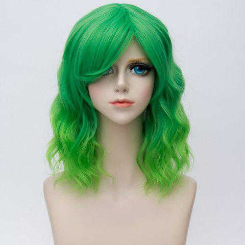 Affordable Medium Side Bang Ombre Water Wave Synthetic Party Cosplay Wig - EMERALD  Mobile