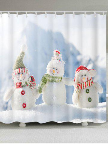 Discount Snowman Family Print Polyester Waterproof Shower Curtain - W71 INCH * L71 INCH WHITE Mobile