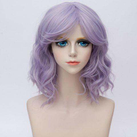 Trendy Medium Side Bang Ombre Water Wave Synthetic Party Cosplay Wig - BLUE VIOLET  Mobile