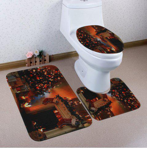 Outfit Christmas Tree Fireplace Pattern 3 Pcs Bath Mat Toilet Mat BROWN