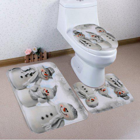 Christmas Snowmen Family Pattern 3 Pcs Bath Mat Toilet Mat