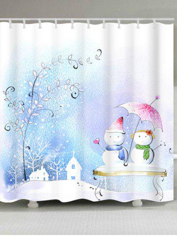 Outfits Snowman Couples Print Waterproof Bath Curtain