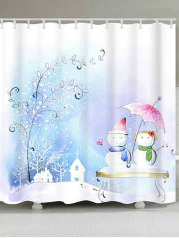 Fancy Snowman Couples Print Waterproof Bath Curtain COLORMIX W71 INCH * L79 INCH